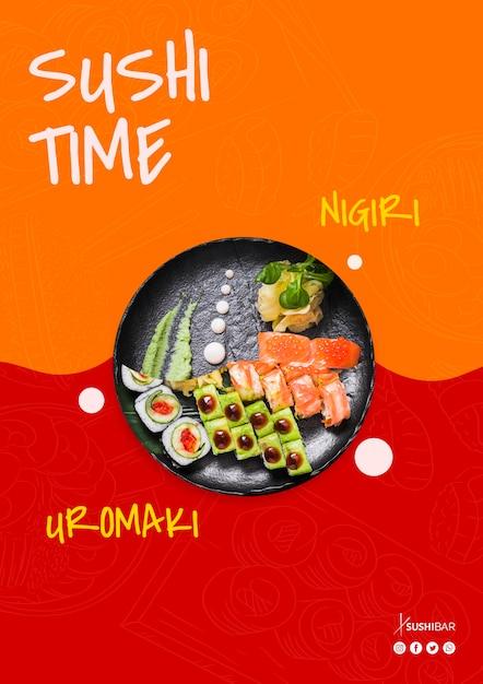 Sushi tijd, nigiri en uramaki recept met rauwe vis voor aziatische japanse restaurant Gratis Psd