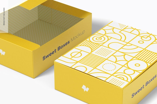 Sweet box mockup, close-up Premium Psd