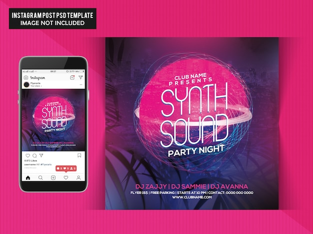 Synth sound party flyer Premium Psd