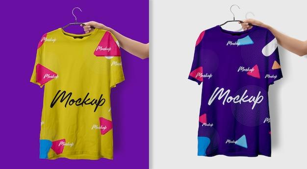 T-shirt uomo mockup giallo blu Psd Premium