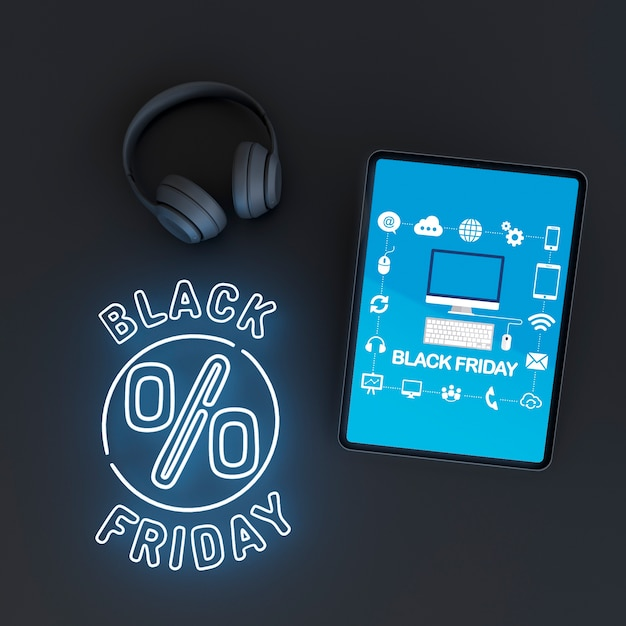 Tabletmodel met blauwe neonlichten Gratis Psd