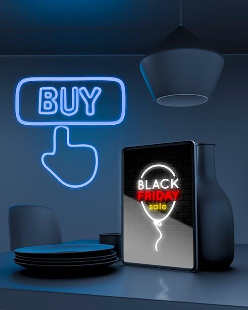 Tabletmodel op keukenteller met blauwe neonlichten Gratis Psd