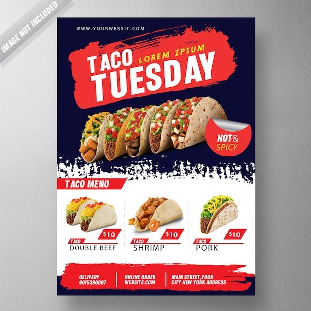 Taco dinsdag flyer psd-sjabloon Gratis Psd