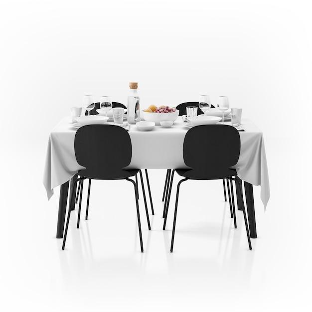Tafel met tafelkleed, servies en stoelen Gratis Psd