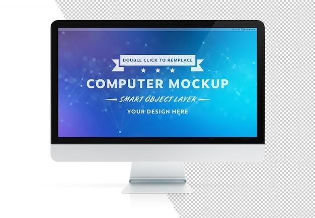 Tagliare lo schermo del computer moderno isolato con mockup di ombra Psd Premium