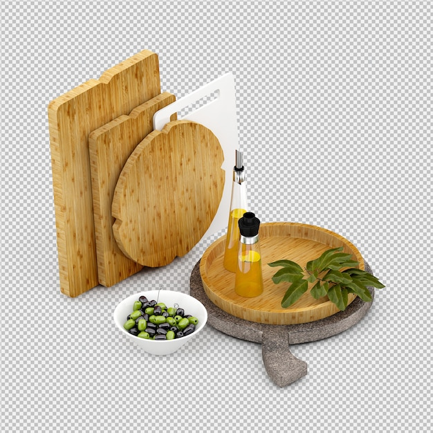 Tagliere in legno isometrico Psd Premium