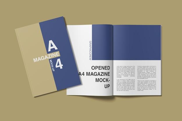Tapa a4 y maqueta de revista abierta vista de ángulo superior PSD Premium