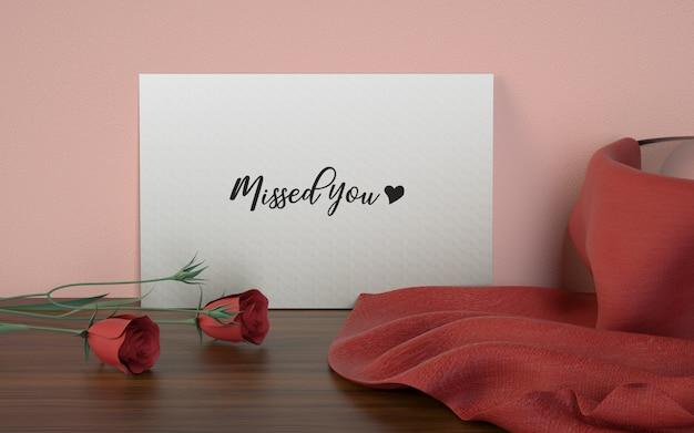 Tarjeta de amor estudio de maqueta PSD gratuito