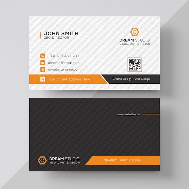 Tarjeta corporativa elegante naranja PSD gratuito