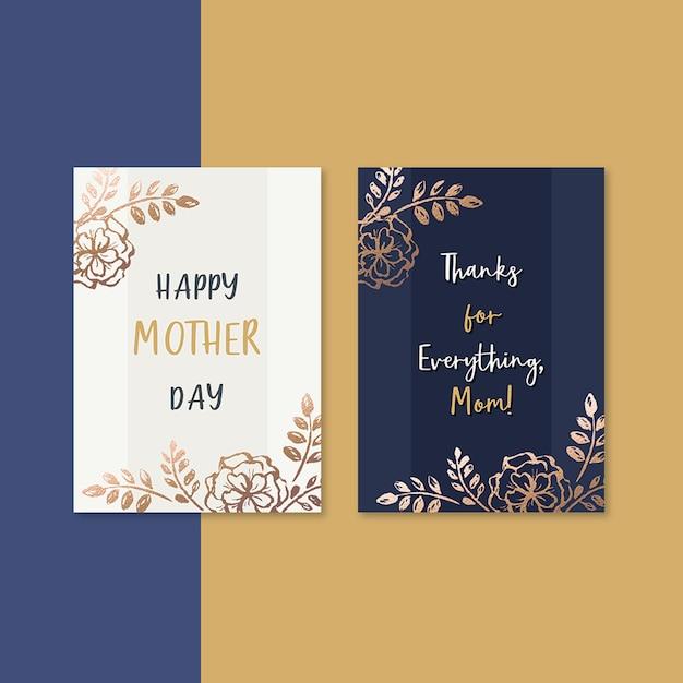 Tarjeta del día de la madre flores elegantes PSD gratuito