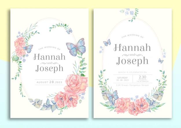 Tarjeta de invitación de boda floral handdrawn PSD Premium