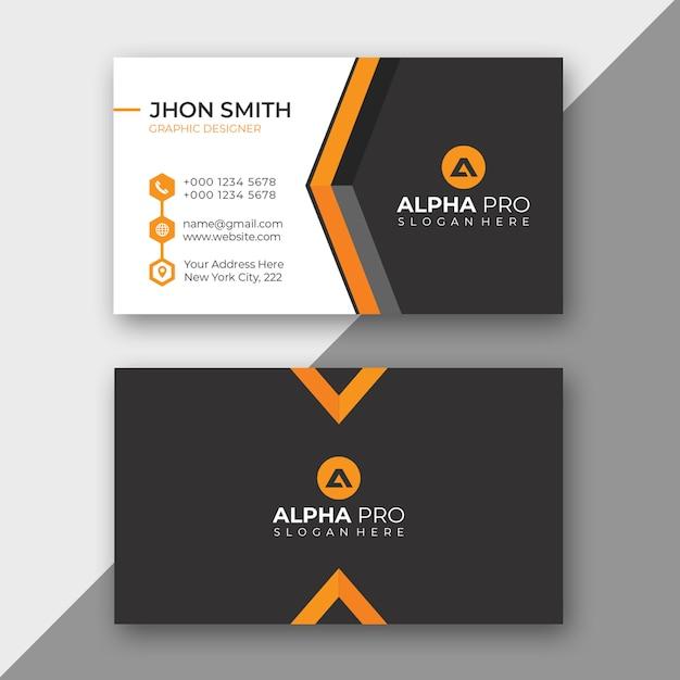Tarjeta de negocio corporativa naranja PSD Premium