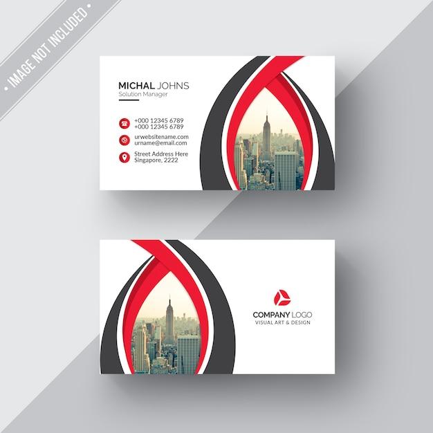 Tarjeta de negocios blanca con detalles negros y rojos PSD gratuito