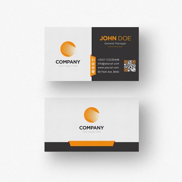 Tarjeta de negocios blanca y negra con detalles naranjas PSD gratuito