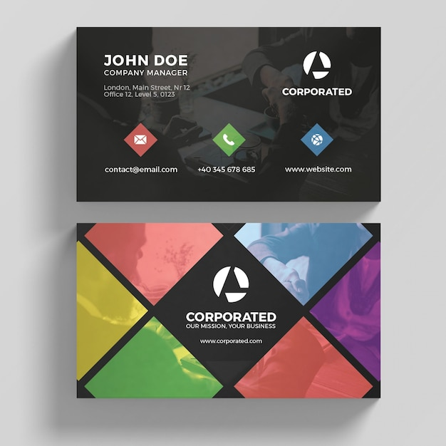 Tarjeta de negocios colorida PSD Premium