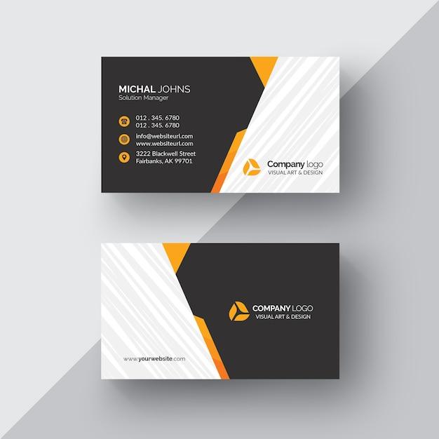 Tarjeta de negocios negra con detalles naranjas PSD gratuito