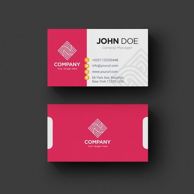 Tarjeta de negocios rosa y blanca PSD gratuito