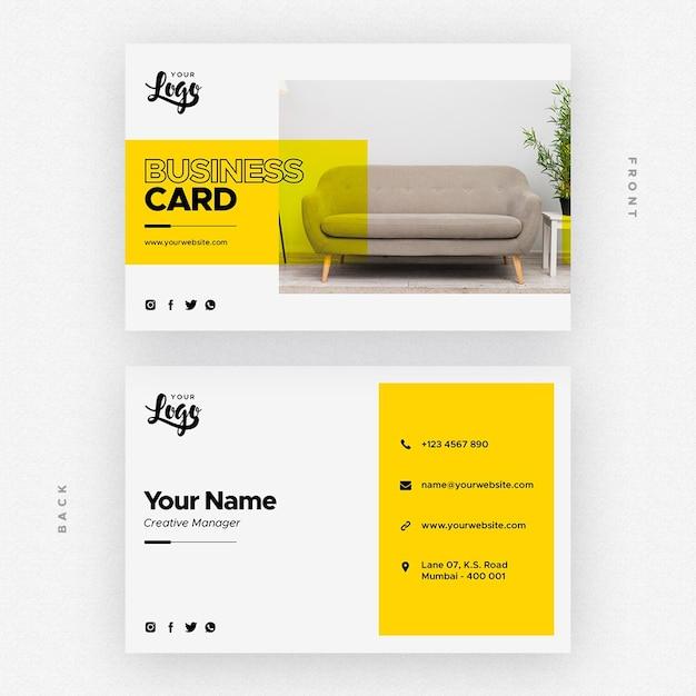Tarjeta de presentación para empresa de muebles y decoración del hogar. PSD gratuito