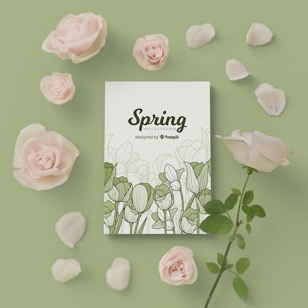 Tarjeta de primavera con marco floral 3d flor PSD gratuito
