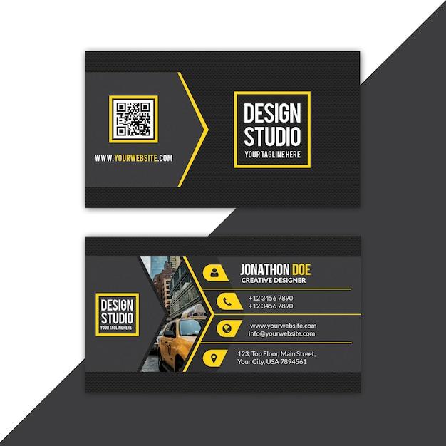 Tarjeta de visita amarilla PSD Premium