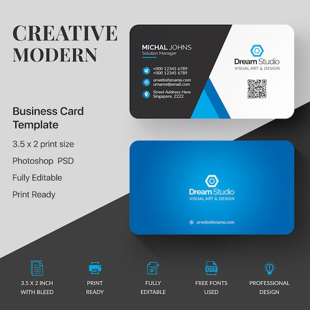 Tarjeta de visita azul y blanca PSD gratuito