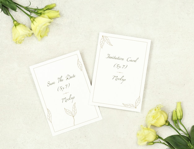 Tarjetas De Invitación De Maqueta Para Matrimonio Archivo