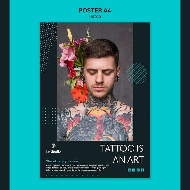 Tatoeage is een sjabloon voor een kunstposter Gratis Psd