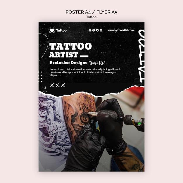 Tattoo artiest poster sjabloon Gratis Psd