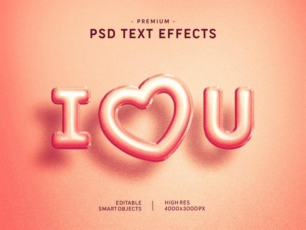 Te amo efecto rosado del texto del globo de valentine en rosa PSD Premium