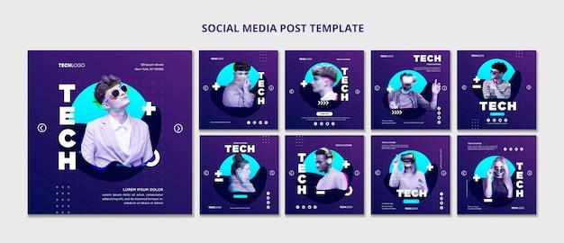 Tech e futuro modello di concetto di modello di post di social media Psd Gratuite