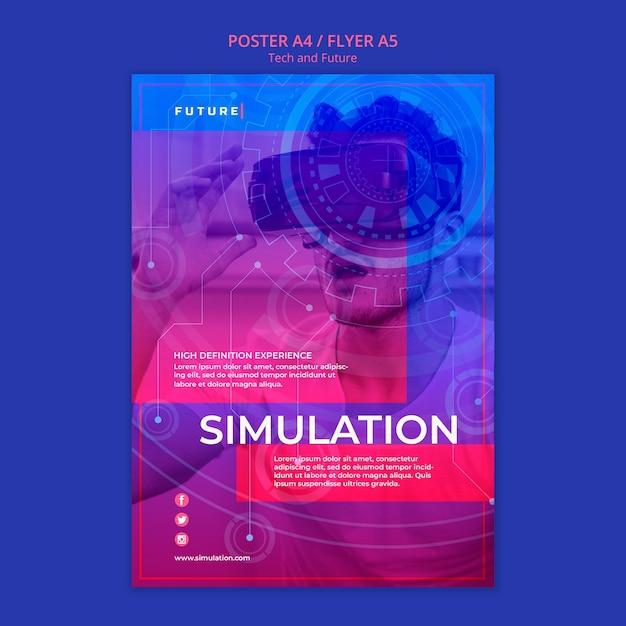 Tech en toekomst concept poster Gratis Psd