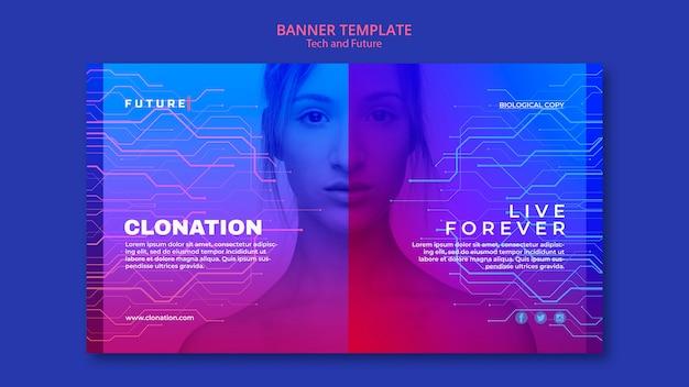 Tech en toekomst concept sjabloon voor spandoek Gratis Psd