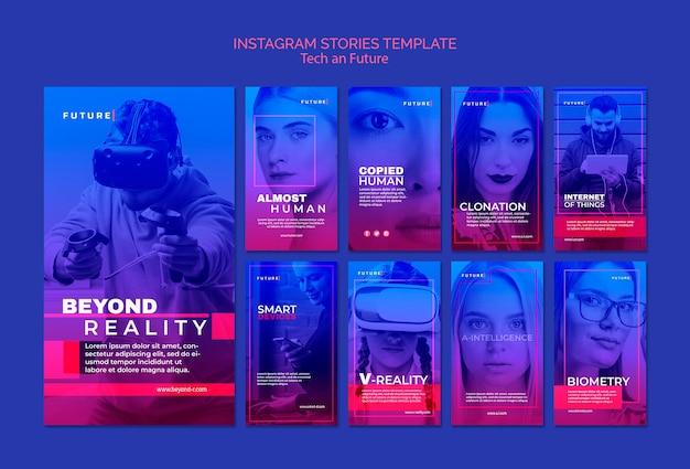 Tech en toekomstconcept instagram-verhalen Gratis Psd