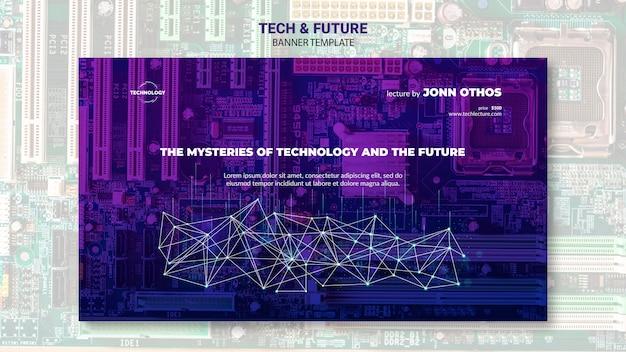 Tech & modello di banner concetto futuro Psd Gratuite