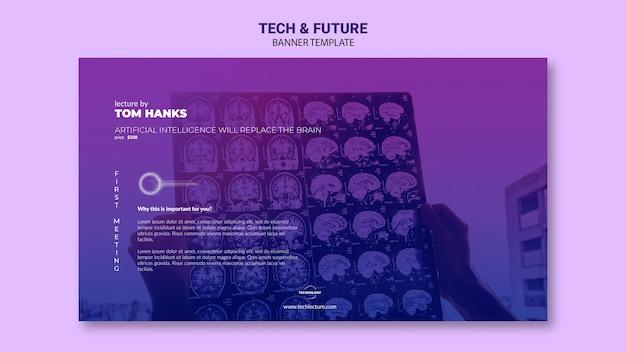 Tech & toekomst concept banner sjabloon mock-up Gratis Psd