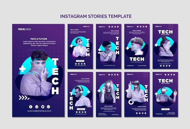 Tech & toekomstige instagram-verhalen tempalte concept sjabloon Gratis Psd