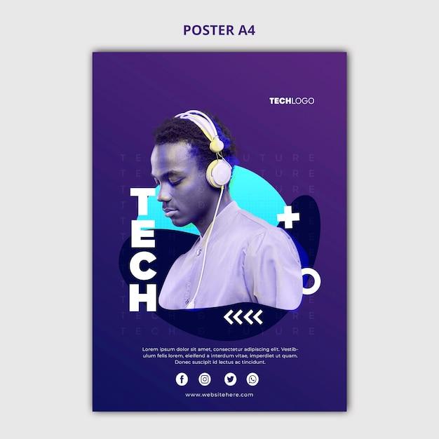 Tech & toekomstige poster concept sjabloon Gratis Psd