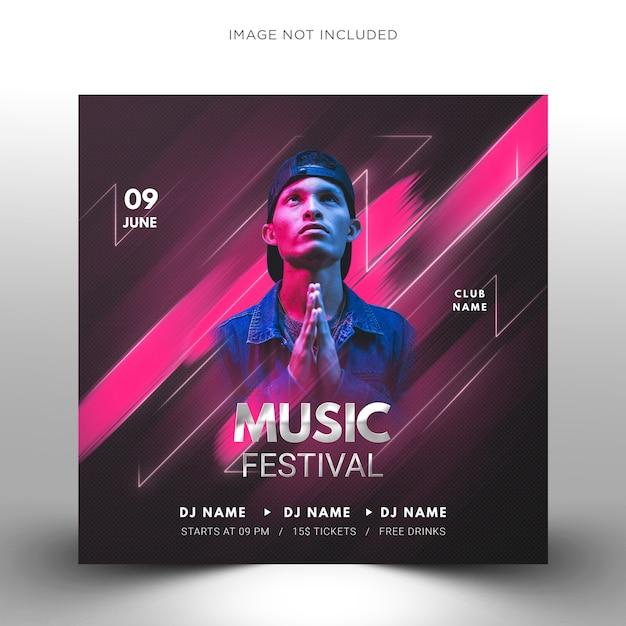 Techno dj muziekfeest sjabloon, vierkante flyer voor instagram. Premium Psd