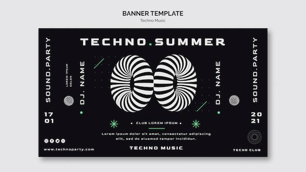 Techno muziek banner websjabloon Premium Psd
