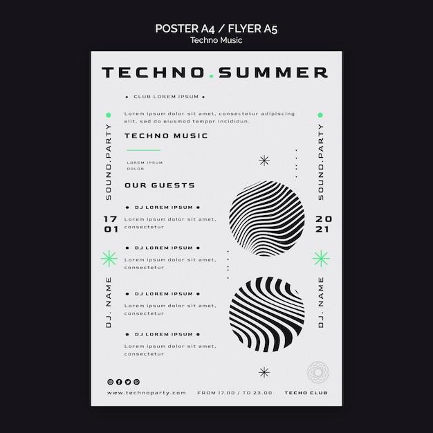 Techno muziek witte achtergrond poster sjabloon Gratis Psd