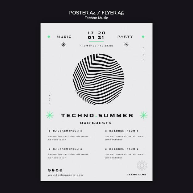 Techno muziek zomerfestival poster sjabloon Gratis Psd