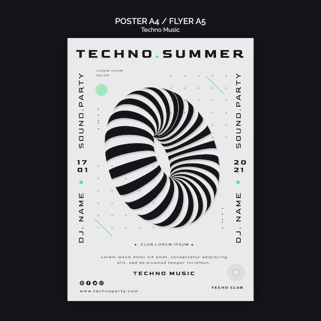 Techno muziekfestival abstracte vorm poster sjabloon Gratis Psd