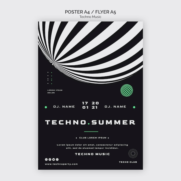 Techno muziekfestival in zomer poster sjabloon Gratis Psd