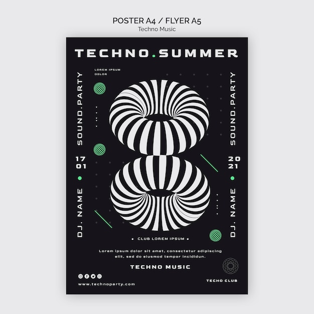 Techno muziekfestival poster sjabloon Gratis Psd