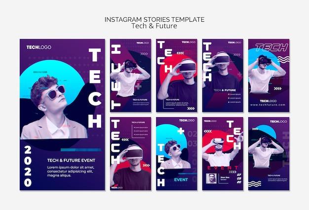 Technologieconcept voor instagram-verhalen Gratis Psd