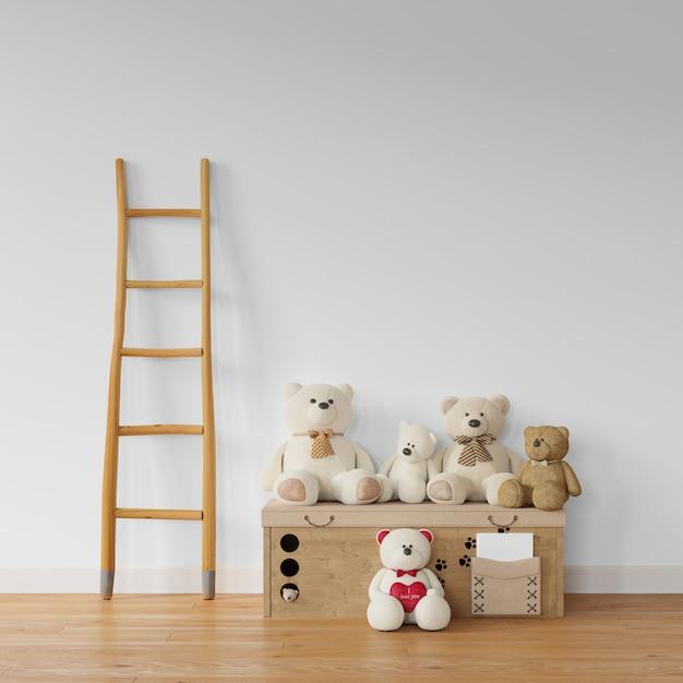 Teddybeer collectie op houten kist en trappen Gratis Psd