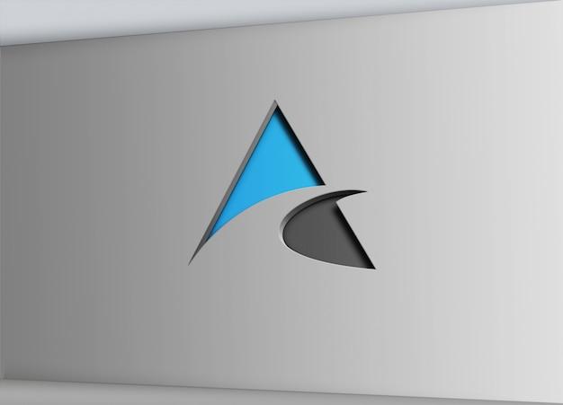 Teken muur uitgesneden effect logo mock up Premium Psd