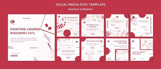 Tekenen en schilderen van social media postsjabloon Gratis Psd