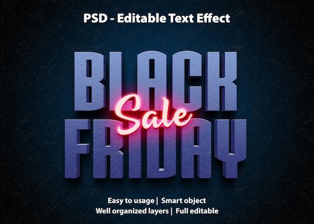 Teksteffect black friday-verkoopsjabloon Premium Psd