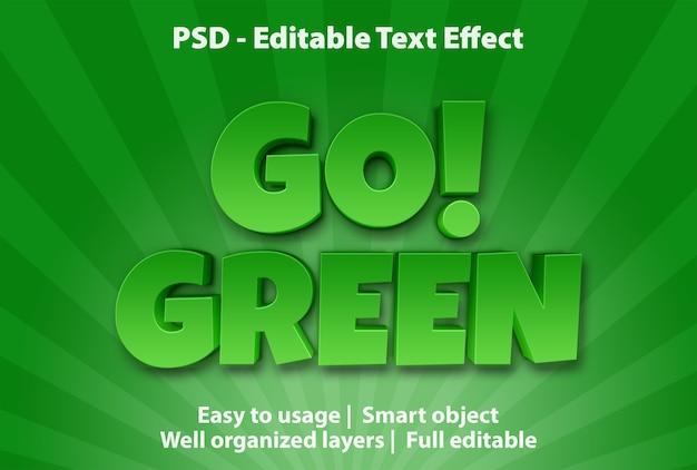 Teksteffect go green-sjabloon Premium Psd
